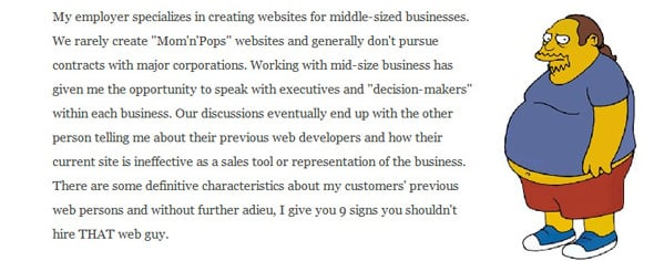 9 Signs You Shouldn't Hire THAT Web Guy