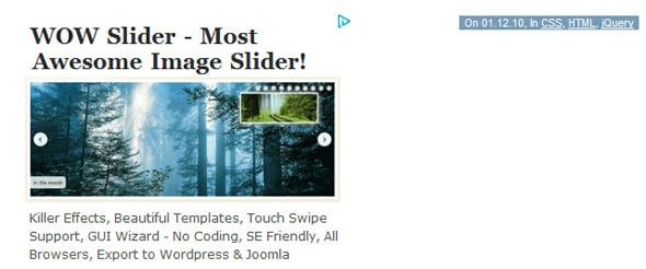 Lightest jquery content slider