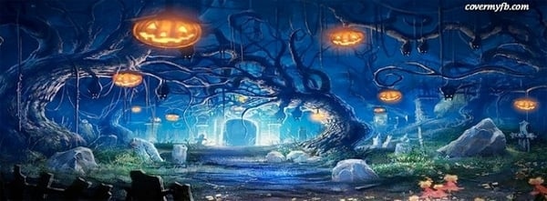 Cemetery on Halloween Facebook Cover