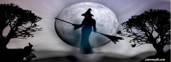 Witch Silhoute Halloween Facebook Covers