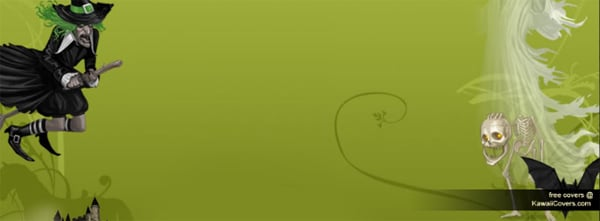Halloween Witch Green Facebook Cover