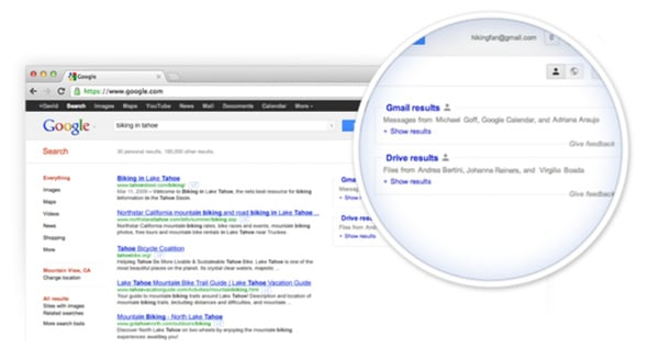 Google integrated Google Search and Drive into Gmail accounts
