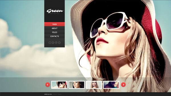Photographer's Website Template with Background Image Gallery