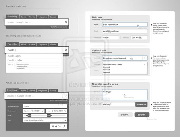 Download web form elements PSD