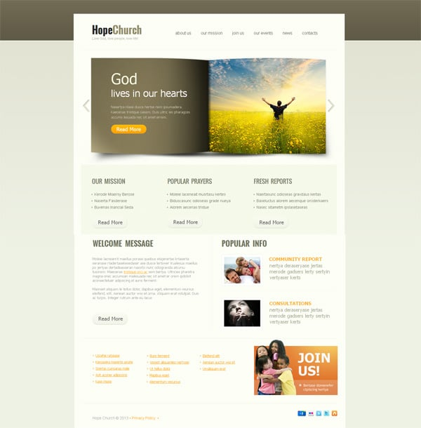 Church Web Templates. blessing church website template over ...