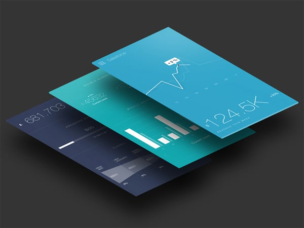 Flat Web Design Mobile Apps Featuring Graphs