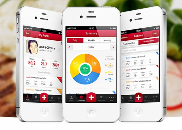Mobile app designs featuring counters and graphs Architecture designing app