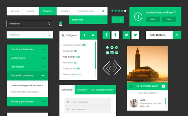 Free Flat UI Kits for Designers