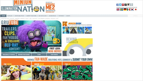 Animated Feature Movie Websites: Despicable Me 2