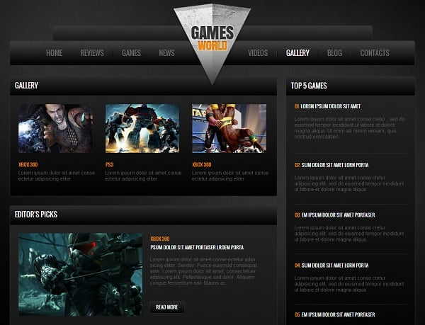 gaming website templates pro tips for building a gaming website. Black Bedroom Furniture Sets. Home Design Ideas