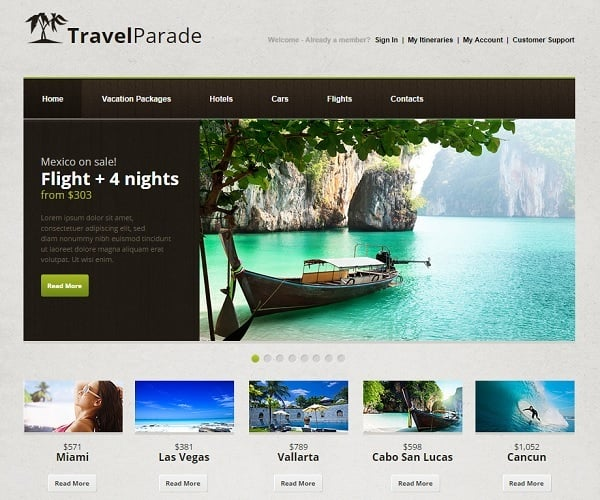Travel Website Template with jQuery Slider