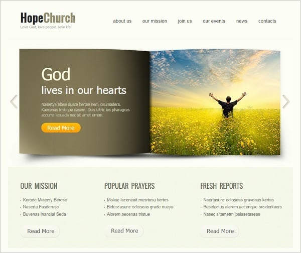 Church Website Template with Slider