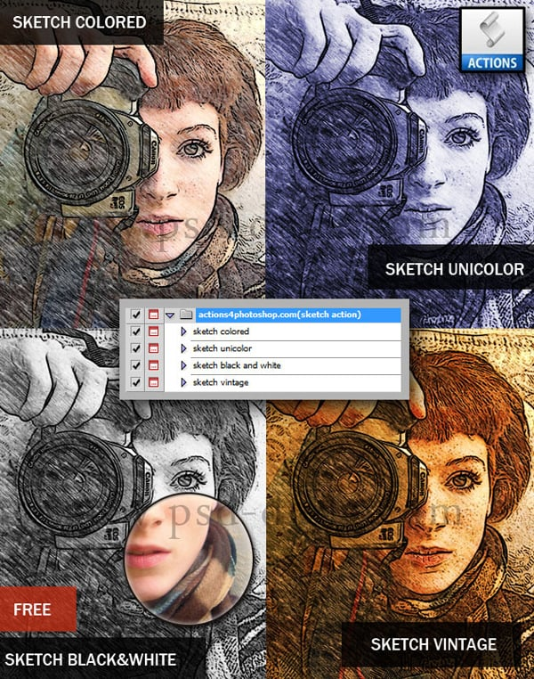 Set of Free Photoshop Actions for Sketch Effect