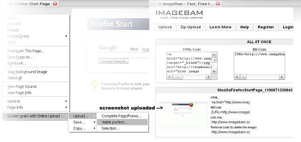 Firefox Screenshot Capture Addons - Screen Grab with Online Uploader