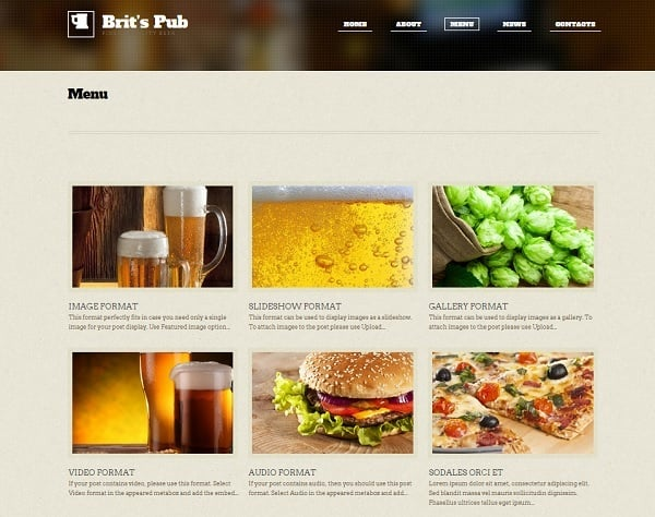 Website Template for Pub or Brewery