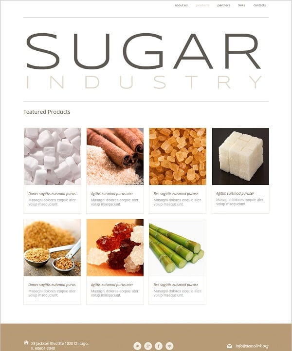 Template for Sugar Industry Website