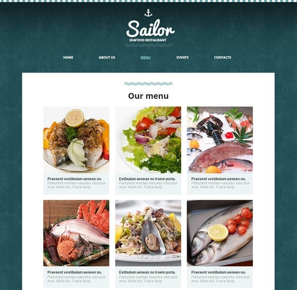 Website Template for Seafood Restaurant