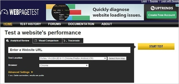 Page Speed Testing Tools - Webpage Test