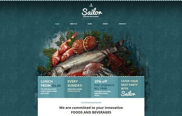 Restaurant Website Design in Marine Colors