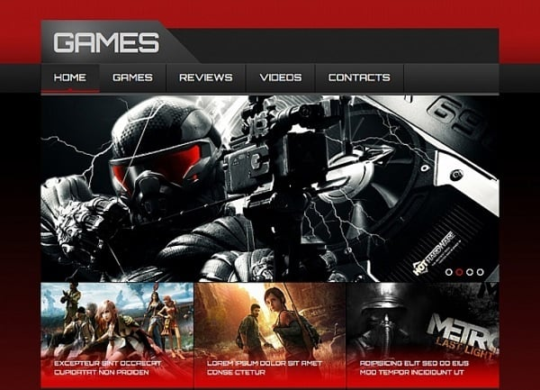 Futuristic Website Templates - Bloody-Red Video Game Website Template
