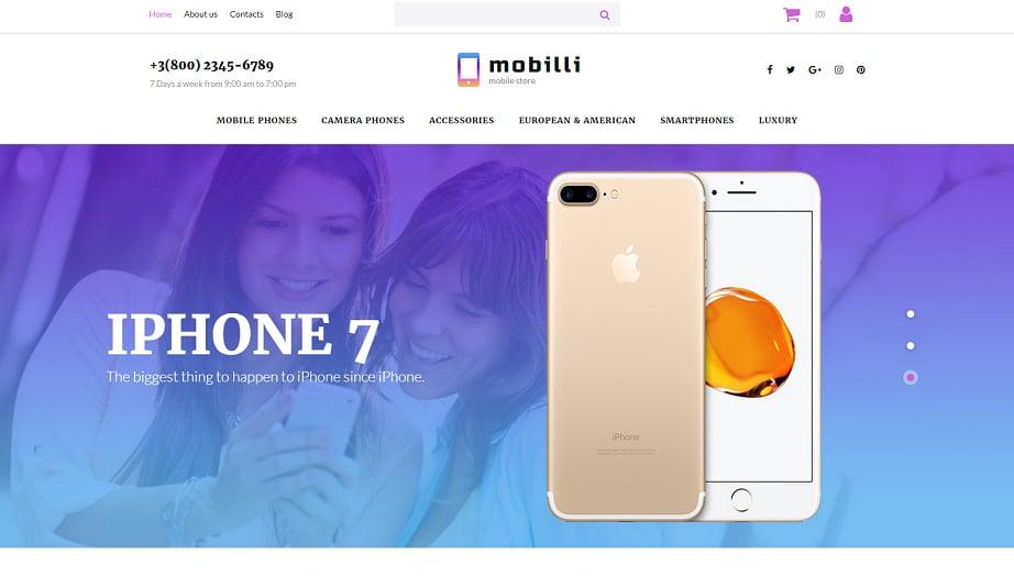 Best website builders for eCommerce 2017 - Mobilli template
