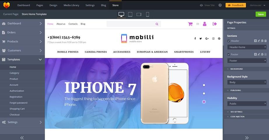 Best website builders for eCommerce 2017 - Mobilli theme