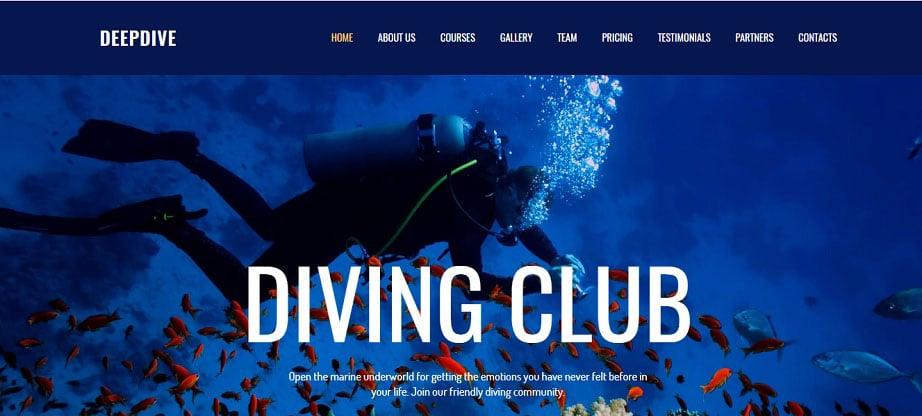 Deepdive Sports Website Design
