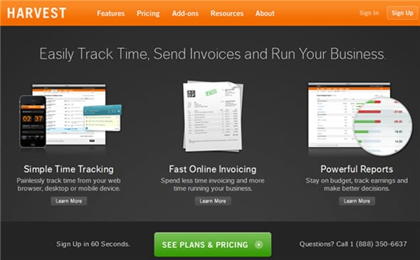 Harvest invoicing app