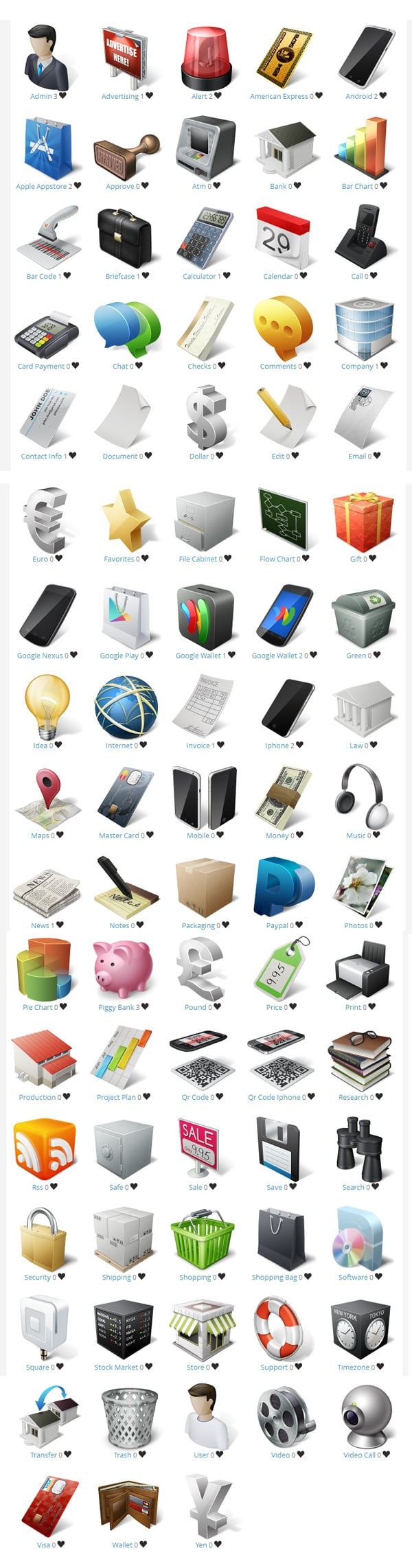 Download free e-Commerce and business icons set