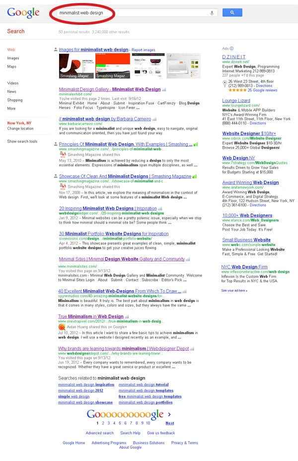 Google Search Results Page: minimalist web design
