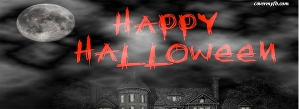 Black, White, Red Happy Halloween Facebook Cover