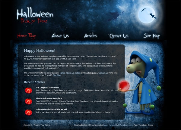 Download a free web template for Halloween