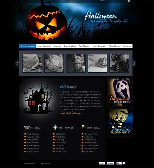 Download a web template for Halloween