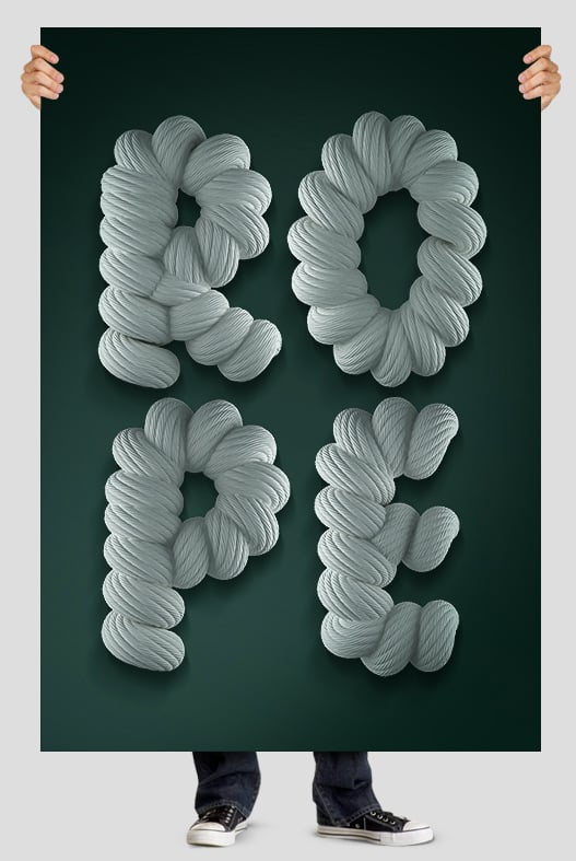 3d Rope font