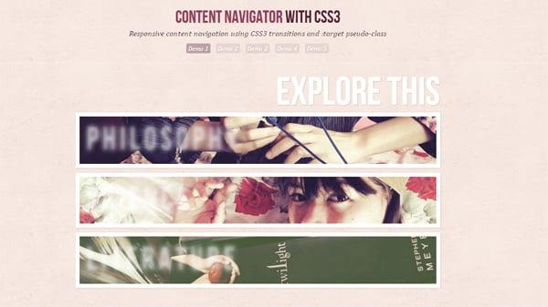 CSS3 Tutorials: Responsice Content Navigator with CSS3