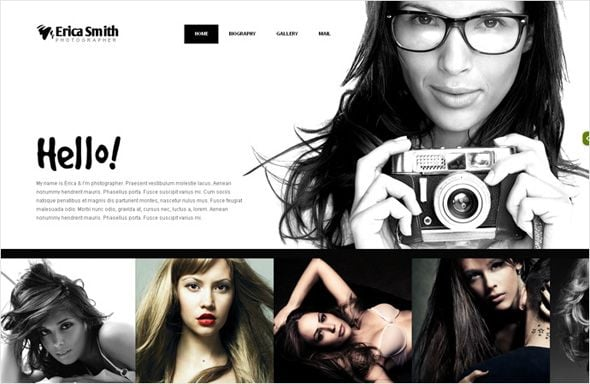 Flash photo portfolio template for photographers