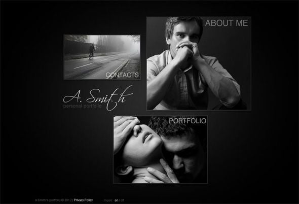 Black and white Flash photo portfolio template for photographers