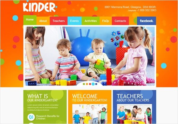 Education website template for kindergartens