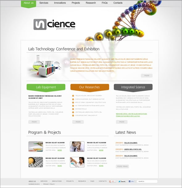 Professional Science Flash CMS Template