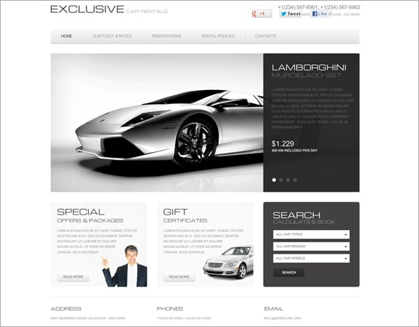 Car Rentals Flash Template