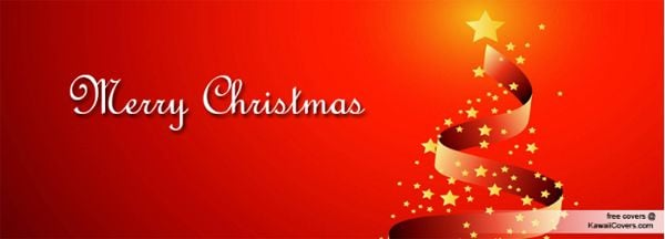 Red Christmas Tree Ribbon Facebook Cover