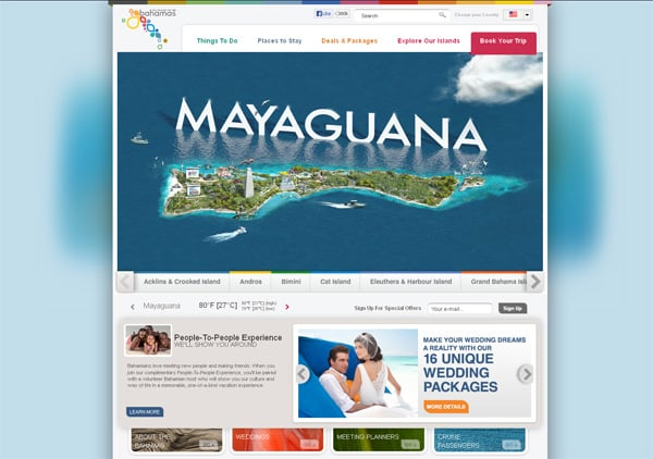 Travel website designs - Bahamas