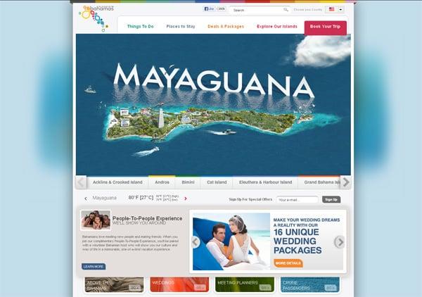 Travel website designs - Bahamas