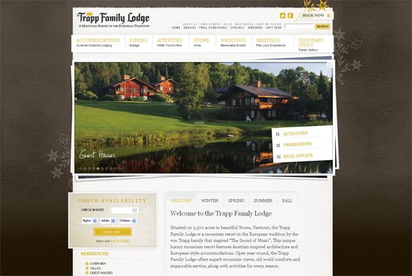 Travel website designs - Trapp Family Lodge