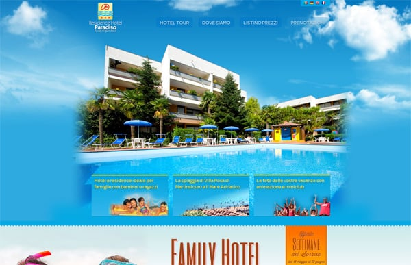 Travel website designs - Hotel Paradiso