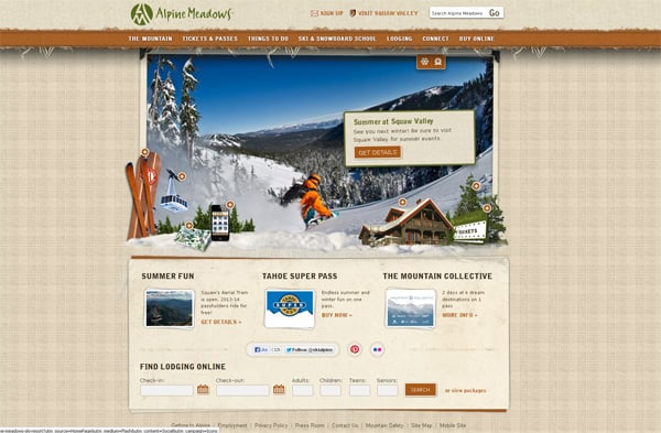 Travel website designs - Alpine Meadows