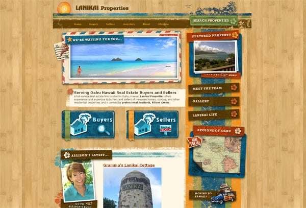 Travel website designs - Lanikai Properties
