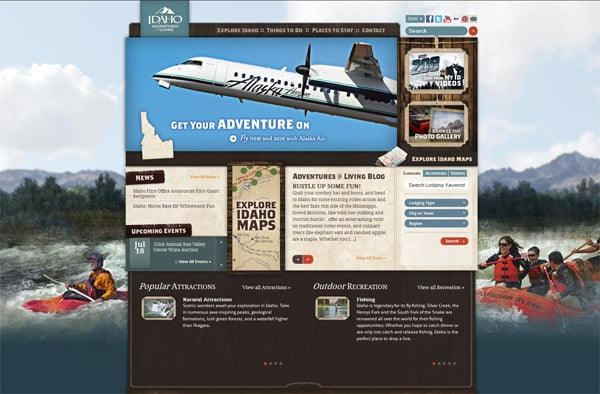 Travel website designs - Idaho Adventures