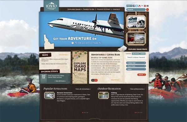 Travel website designs - Idaho Adventures