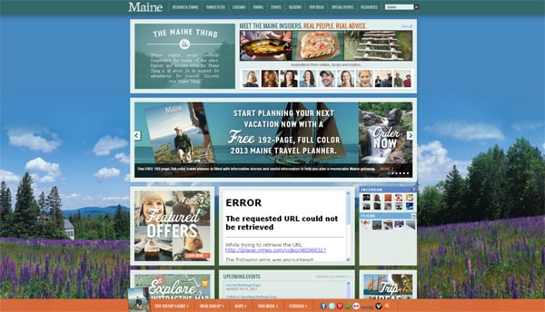Travel website designs - Maine